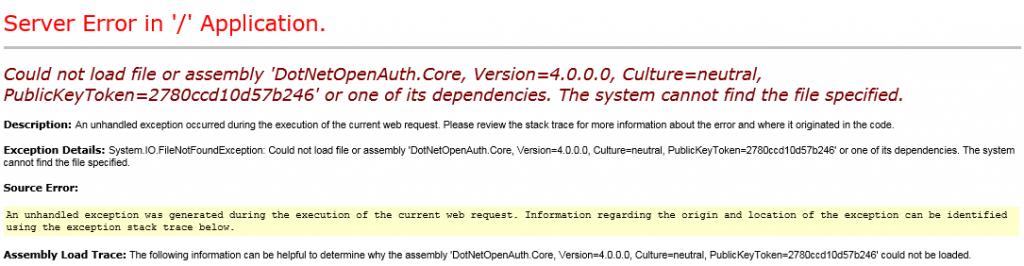 MVC 4 Exception - DotNetOpenAuth Not Found