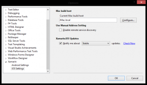 Xamarin iOS Settings in Visual Studio 2012